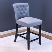Willa Arlo Interiors Erling Velvet Counter 26'' Bar Stool w/ Cushion (Set of 2); Sharkfin Gray