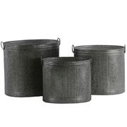 Urban Trends Round 3-Piece Metal Pot Planter Set