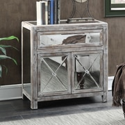 Willa Arlo Interiors Rothman Mirrored Cabinet; Weathered White