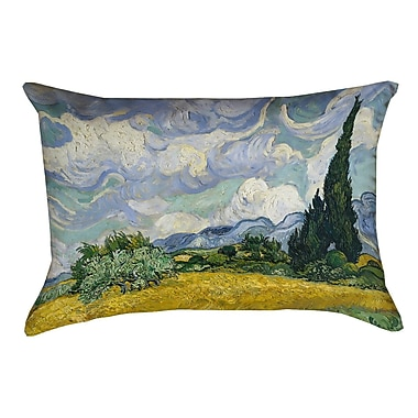 Alcott Hill Woodlawn Wheatfield w/ Cypresses Rectangular Cotton Pillow Cover; Yellow