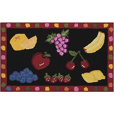 August Grove Chatelaine Hand-Tufted Black/Red Area Rug; 2'3'' x 3'9''
