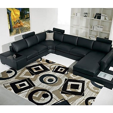 Rug Tycoon Champaign/Black/White Area Rug; 4' x 6'