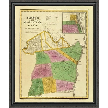 East Urban Home 'New York - Albany; Schenectady Counties; 1829' Framed Print