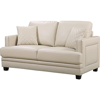 Willa Arlo Interiors Dia Modern Nailhead Loveseat; Beige