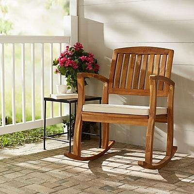 Highland Dunes Kairi Acacia Rocking Chair w/ Cushion