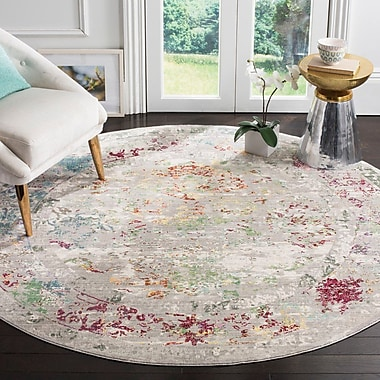 Mistana Lulu Rectangle Gray/Multi Area Rug; Round 6'7''