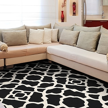 Willa Arlo Interiors Alcmene Hand-Tufted Black/White Area Rug; 8'6'' x 11'6''