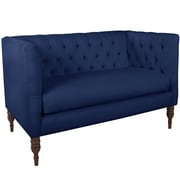 World Menagerie Lyric Tufted Chesterfield Settee; Navy