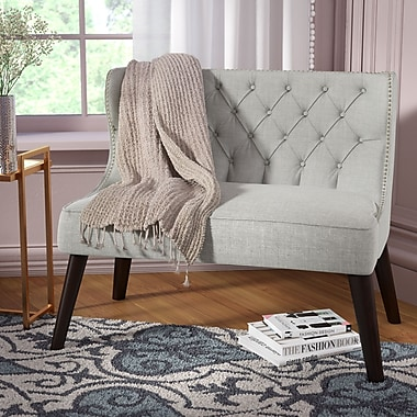 Willa Arlo Interiors Aguayo Tufted Wing Back Settee Bedroom Bench; Light Gray