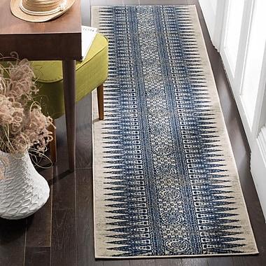 Mistana Elson Ivory/Blue Area Rug; 6'7'' x 9'