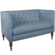 World Menagerie Lyric Tufted Chesterfield Settee; Ocean