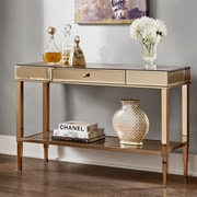 Willa Arlo Interiors Calisto Mirrored Console Table; Champagne Gold