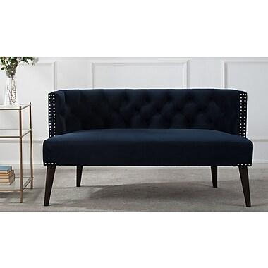 Willa Arlo Interiors Kaysen Settee; Dark Navy Blue