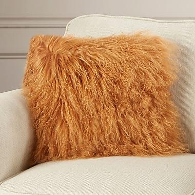 Willa Arlo Interiors Springport Sheepskin Throw Pillow; Amber