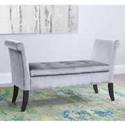Willa Arlo Interiors Lazzaro Upholstered Storage Bedroom Bench; Silver Gray