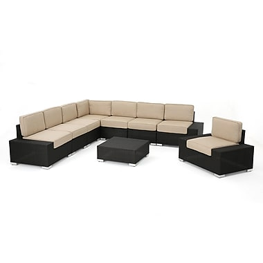 Orren Ellis Hettie Outdoor Wicker 9 Piece Sectional Set w/ Cushions