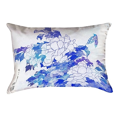 Latitude Run Raritan Watercolor Peonies and Butterfly Cotton Pillow Cover