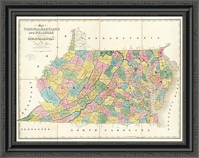 East Urban Home 'Map of Virginia; Maryland and Delaware; 1839' Framed Print