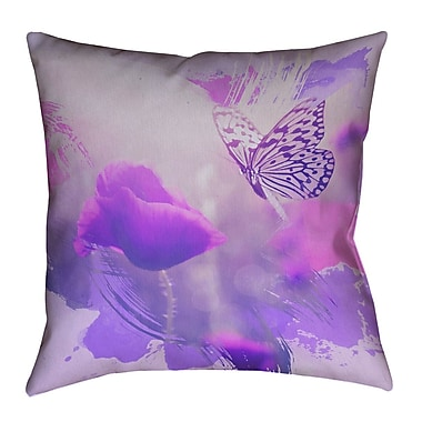 August Grove Elwyn Watercolor Butterfly and Rose Outdoor Waterproof Throw Pillow; 16'' x 16''