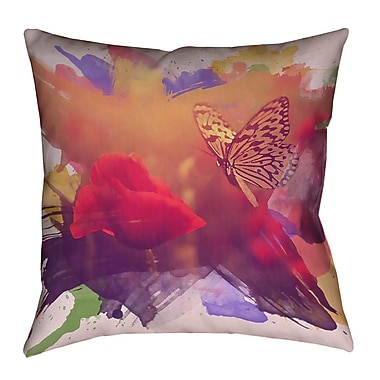 August Grove Elwyn Contemporary Watercolor Butterfly and Rose Zipper Throw Pillow; 20'' x 20''