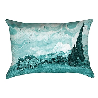 Alcott Hill Woodlawn Wheatfield w/ Cypresses Rectangular Pillow Cover; Teal