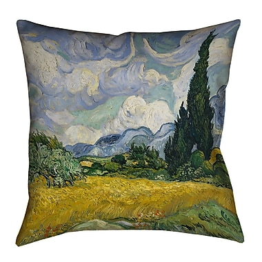 Alcott Hill Woodlawn Wheatfield w/ Cypresses Square Pillow Cover; 18'' H x 18'' W