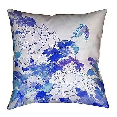 Latitude Run Raritan Contemporary Watercolor Peonies and Butterfly Throw Pillow; 16'' H x 16'' W