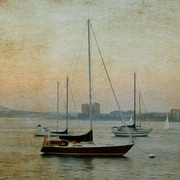 Buy Art For Less Sunset Sailboats' Watercolor Painting Print on Wrapped Canvas; 24'' H x 24'' W