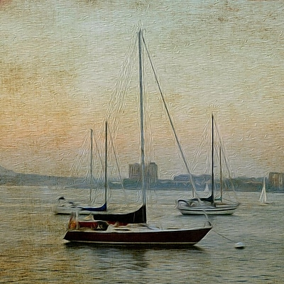 Buy Art For Less Sunset Sailboats' Watercolor Painting Print on Wrapped Canvas; 36'' H x 36'' W
