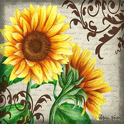 Gallery 'A Day in the Garden w/ Sunflowers' Framed Graphic Art Print on Wrapped Canvas
