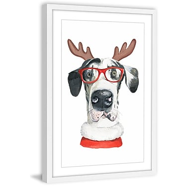 Ivy Bronx 'Deer Dog' Framed Watercolor Painting Print; 26'' H x 24'' W