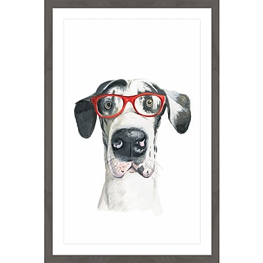 Ivy Bronx 'Chiens a Lunettes' Framed Watercolor Painting Print; 24'' H x 16'' W