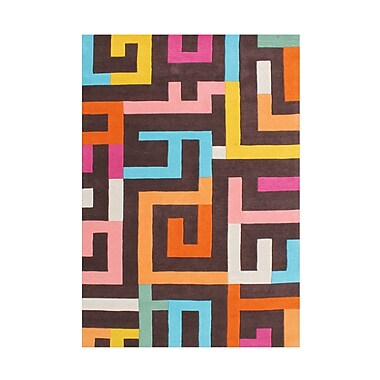 Latitude Run Delaware Hand Woven Wool Brown/Orange Indoor Area Rug; 5' x 8'