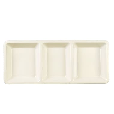 Ebern Designs Lewis Rectangular 3 Compartment Divided Serving Dish; Pearl