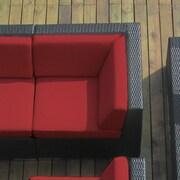 Ohana Depot Corner Chair w/ Cushion; Black with Red Cushion