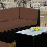 Ohana Depot Corner Chair w/ Cushion; Black with Brown Cushion