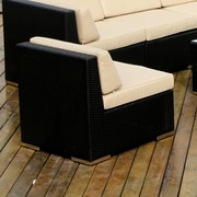 Ohana Depot Middle Chair w/ Cushion; Black with Beige Cushion