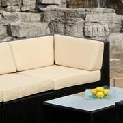 Ohana Depot Corner Chair w/ Cushion; Black with Beige Cushion