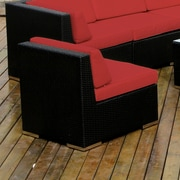 Ohana Depot Middle Chair w/ Cushion; Black with Red Cushion