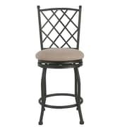 Fleur De Lis Living Buffalo Metal 24.5'' Swivel Bar Stool; Bronze