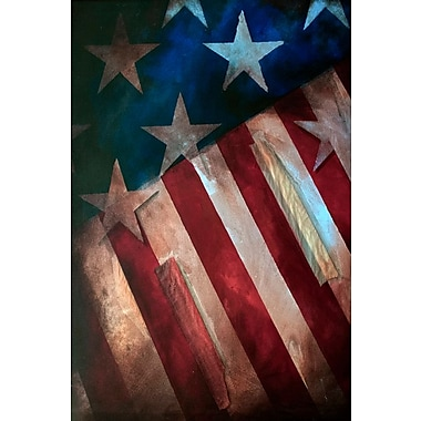Buy Art For Less Gallery 'Iconic Rustic Flag' Framed Print on Wrapped Canvas; 36'' H x 24'' W