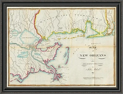East Urban Home 'Map of New Orleans and Adjacent Country; 1815' Framed Print