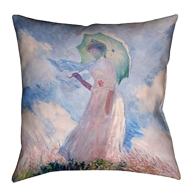 August Grove Elwyn Watercolor Woman w/ Parasol Linen Throw Pillow; 26'' x 26''