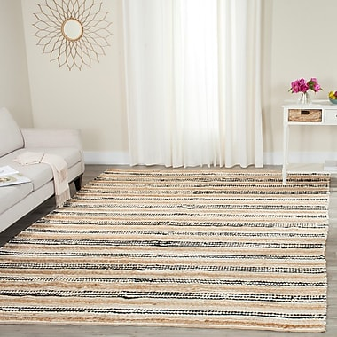 Highland Dunes Arria Hand-Woven Natural/Black Area Rug; 8' x 10'