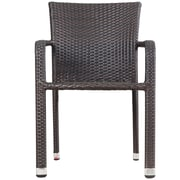 Varick Gallery Wiersma Outdoor Wicker Stacking Dining Arm Chair (Set of 2); Brown