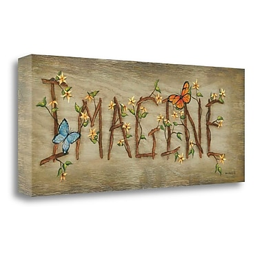 August Grove 'Imagine' by Kim Lewis Framed Acrylic Painting Print on Wrapped Canvas; 13'' H x 32'' W
