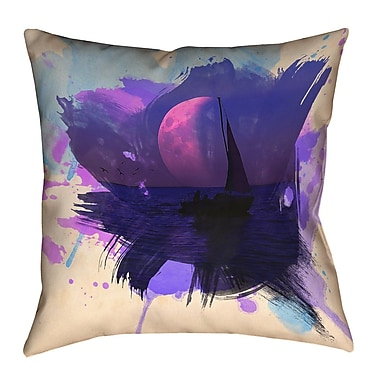 Brayden Studio Houck Watercolor Moon and Sailboat Cotton Throw Pillow; 20'' H x 20'' W