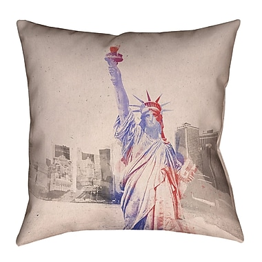 Brayden Studio Houck Watercolor Statue of Liberty Square Cotton Throw Pillow; 16'' H x 16'' W