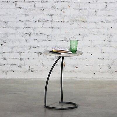 Brayden Studio Stillings Iron Marble Top End Table