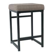Gracie Oaks Ectasia Open Back 16'' Bar Stool; Brown